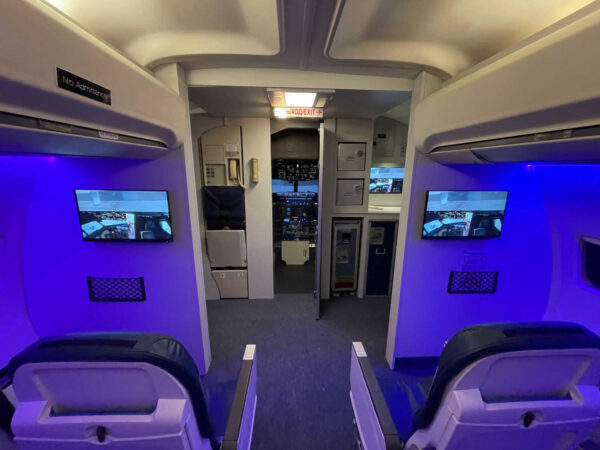 A passengers seat view of our 737 Cabin in Stockport
